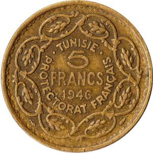 1946-Tunisia-5-Francs-coin