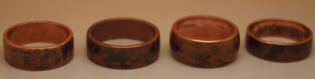 """Simple copper rings with """"earthy"""" finish."""