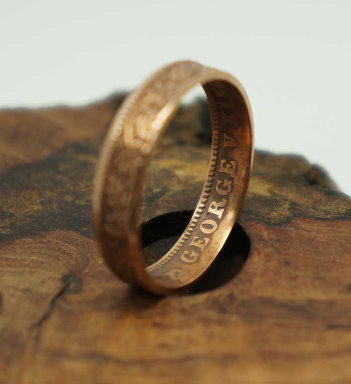 1936 Indian one quarter Anna British India size 9 75 coin ring