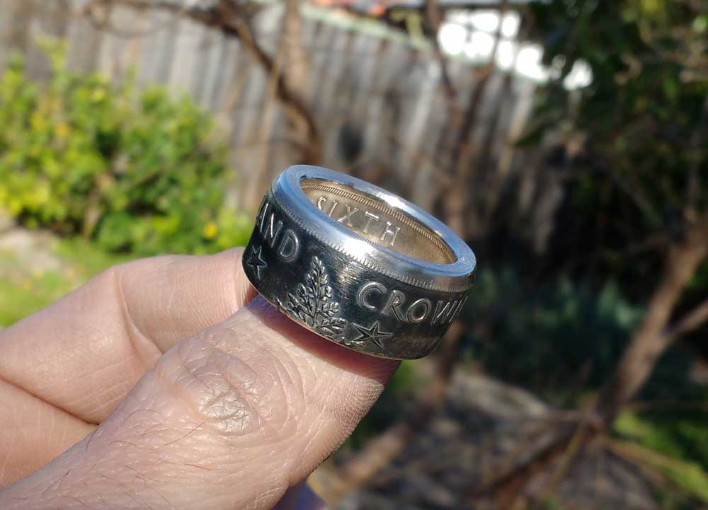 Custom Order for a 1949 New Zealand Crown coin ring